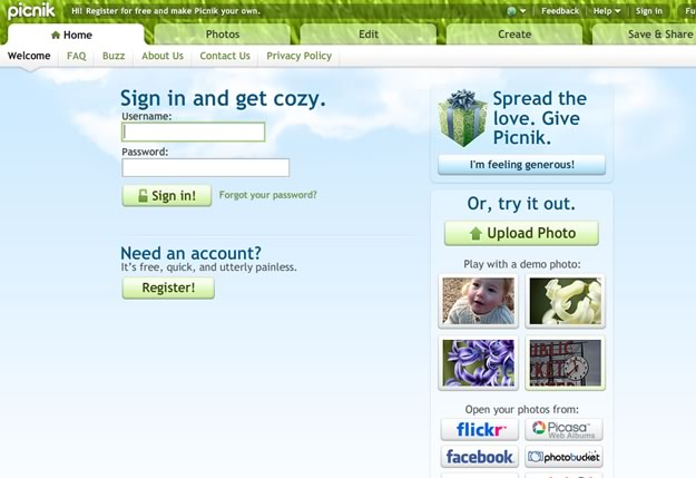 The Picnik sign-up screen