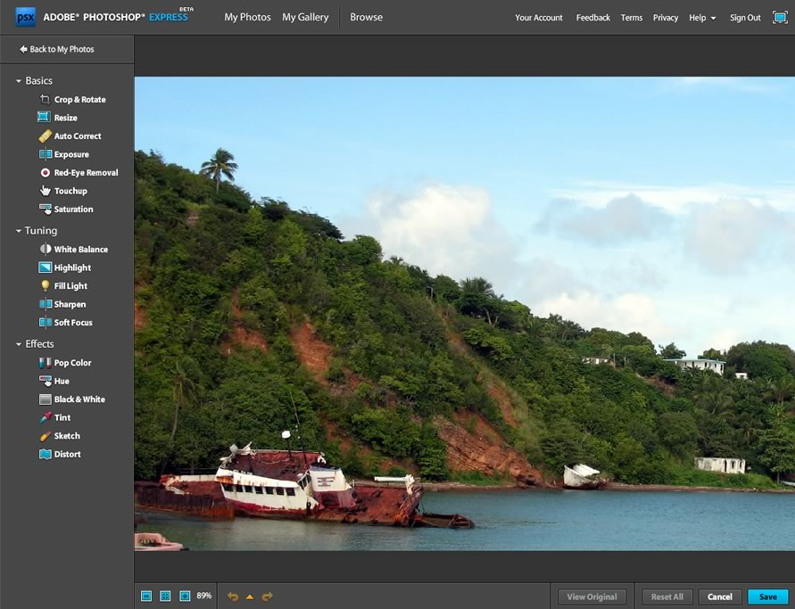 The Photoshop Express image editing screen